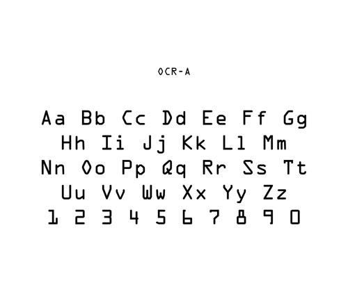 OCR-A font specimen