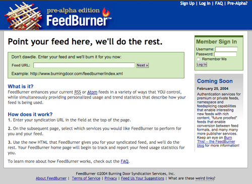 FeedBurner screenshot
