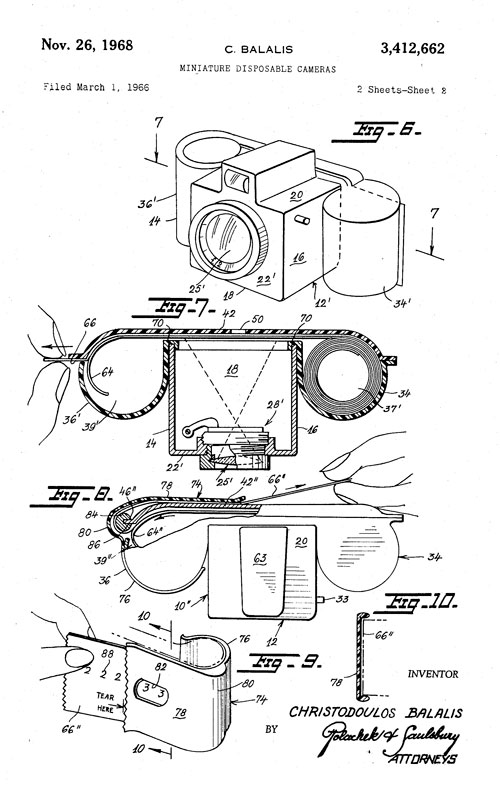 Disposable camera patent